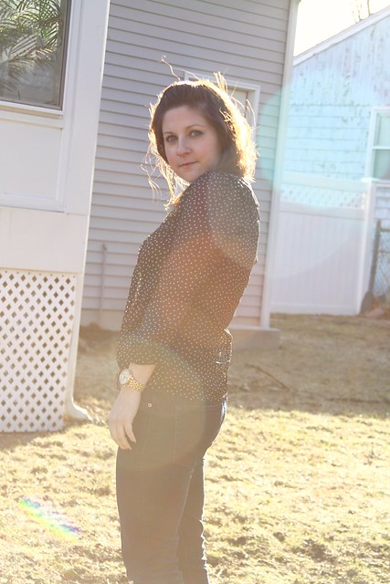 polka dot, sheer, blouse, Fossil, H&M