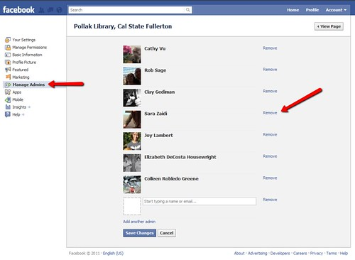 Pollak Library Facebook Page: Remove Admins