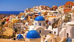 Oia - Greece (kryyslee) Tags: travel blue color colors canon photography eos photo foto photos couleurs picture roofs bleu santorini greece christophe toit backpacker grce couleur oia toits bleus 50d kryyslee christophepaquignon paquignon
