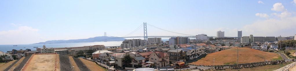 Panoramic Photography from Goshikiduka viewing Akashi Kaikyo Bridge and Awaji Island (Tarumi-ku, Kobe, Japan)
