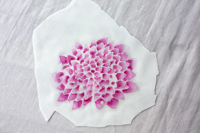 flower batik with wax off.