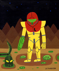 Samus Alone (Jack Teagle) Tags: painting dead death alone space alien exhibition retro gaming planet carnage nes snes metroid samus spacepirate