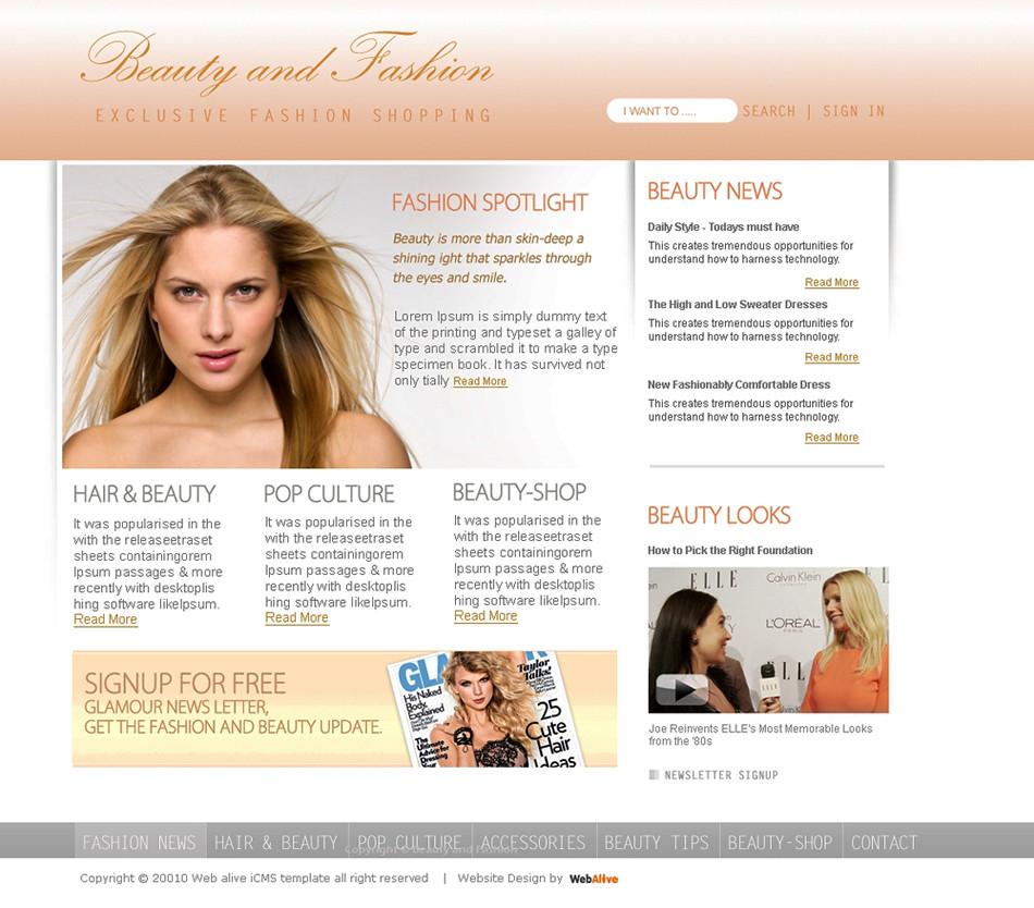 Beauty and fashion web template-02-home
