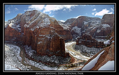 Angels Landing view from the top to the left (daniel.osterkamp) Tags: sky usa snow angel utah spring reisen rocks unitedstates top postcard canyon berge valley zion angelslanding zionnationalpark viewpoint steep springdale travelphotography reisefotografie canonef24105mmf40lisusm danielosterkamp osterkampphotographie