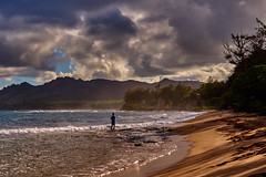 Fisherrman on the Beach (AgarwalArun) Tags: sonya7m2 sonyilce7m2 hawaii kauai island landscape scenic nature views mountain fog clouds sunset sky beach sand waves surf fishing kappa lihue