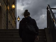 Flutter (Markus Jansson) Tags: stockholm oldtown gamlastan windy wind dark skies weather streetlights street stairs hair clouds manual manualfocus legacy legacylens asahismctakumar 55mm evening lll ll