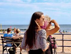 """Free spirit, defiant,  But always my mother's child"" (Lidiya Nela) Tags: pink beach nyc newyork newyorkcity urban city brooklyn candid people summer boardwalk color life coneyisland mother daughter steetphotography"