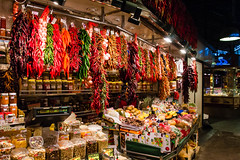 Barcelona (Roger Hanuk) Tags: barcelona chillies hanging market mercatdelaboqueria spain catalonia