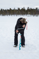 Finland 39: Twisting to Fish. (Lors37) Tags: laura doddwild lilliput 2016 march finland snow dodd 60d canon person man fishing twisting portrait