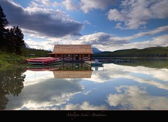 "The Boathouse at Maligne Lake-Unesco World Heritage Site (Joalhi ""Back in Miami"") Tags: canada canon reflections jasper mark ii alberta 5d boathouse malignelake coth5"