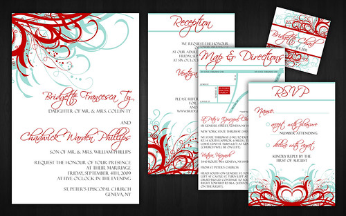 Aqua Tiffany Blue and Red Wedding Invitations Flickr Photo Sharing