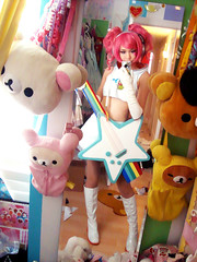 Ulala cosplay! (MintyMix) Tags: world new white star costume outfit rainbow orleans louisiana comic cosplay guitar handmade wizard 5 space retro con channel 2011 ulala