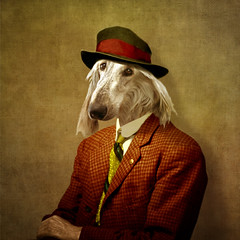 The Artist (Martine Roch) Tags: portrait dog man cute art hat animal vintage square costume funny surreal photomontage surrealist manray petitechose martineroch flypapertextures