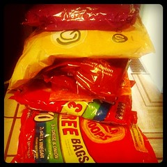 I live when my mum comes to visit. Quavers, Frazzles, Monster Munch, etc.