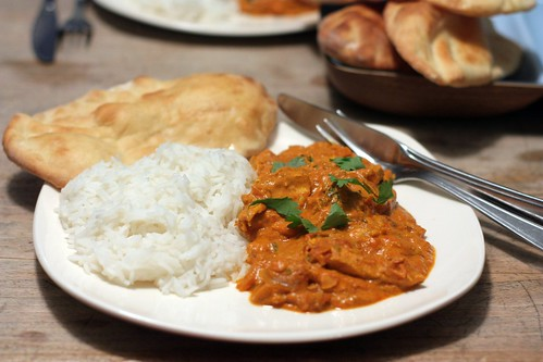 Butter chicken and homemade naan