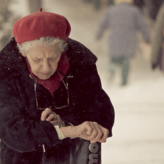 the old woman and her watch (stephane (montreal)) Tags: street winter snow photography photographie hiver rue stephane urbaine paquet 2011 neigemontreal
