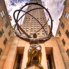 Atlas (melmark44) Tags: nyc newyorkcity sculpture newyork reflection statue stpatrickscathedral 5thavenue rockefellercenter wideangle handheld atlas planets artdeco canon5d zodiac fifthavenue heavens 16mm constellations hdr leelawrie lawrie canoneos5d photomatix 3exposures canonef1635mmf28liiusm 630fifthavenue 3rawexposures renechamberllan chamberllan