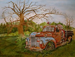 Hero's Retreat (jthomasart67) Tags: old art truck watercolor painting antique rusty firetruck international watercolour acuarela watercolors corroded vintagetruck rustyoldtrucks art2011