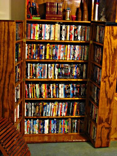 DVD cabinet, open