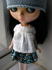 Handmade Blythe skirt and top and hand knitted hat