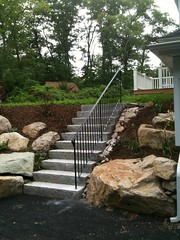 Custom railing on granite steps