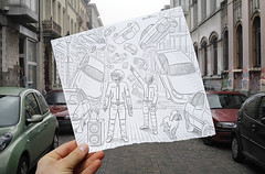 Pencil Vs Camera - 47 (Ben Heine) Tags: show street light brussels music dog flower building art cars rock architecture movie photography robot fly sketch costume concert iron hand power belgium outdoor drawing duo main helmet explosion performance perspective apocalypse creative tracks culture voiture pop creation future sound pies beat electro layer reality imagination imaging sciencefiction behind feeling darthvader pulse score confusion paquerette hold faade imagery density vibration vibe daftpunk derrire casque techhouse