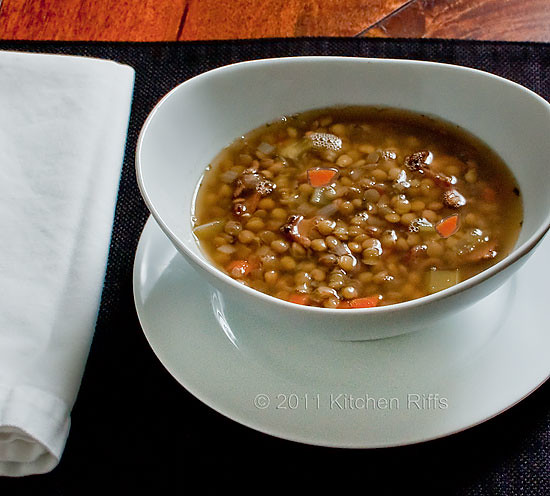 Lentil Soup with Bacon and Rosemary tablesetting