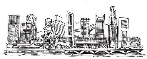 Singapore skyline illustration for VolksWagen - 2 watermark