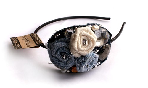 Denim Rose Bouquet Headband