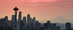 DSC_9442 (mingzkl) Tags: seattle morning skyline harbor downtown cloudy panoramic spaceneedle nikkor105mmf25ais mountainrainier