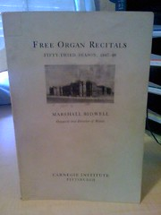 Image for Free Organ Recitals-Fifty-Third Season, 1947-48 by Bidwell, Marshall