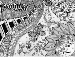 """ NEXT EXIT ... SPRING! "" (carolynboettner) Tags: doodles zentangle zendoodle"