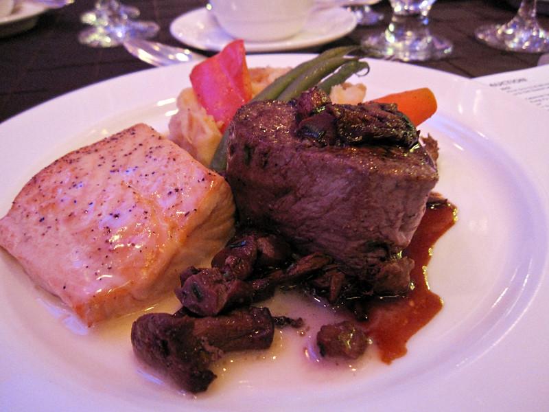 Seared Petit Beef Tenderloin and Salmon Filet