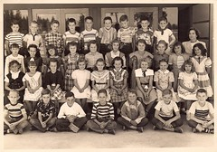 Late 1940's or early 1950's students (sctatepdx) Tags: students kids found 1940s schoolphoto classphoto vintageclothes 1940sclothes 1940skids 1940sstudents 1940sschoolphoto 1940sclassphoto