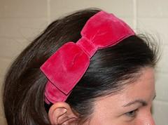 Big Red Velvet Bow Headband
