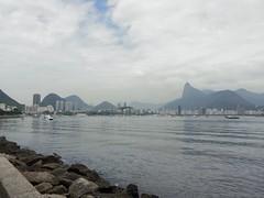 Botafogo, protected by Christ the Redeemer (benitophoto) Tags: sea rio brasil bay janeiro christ cloudy corcovado botafogo urca redeemer