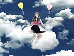 Sunny with a Chance of Girls (CountYourBle$sings (college. Instagram: ldufffff)) Tags: world pink blue sky girl strange up weather yellow azul shirt clouds hair fly flying sitting chica ride air baloon airplanes thoughtful fluffy floating sunny away scene skirt swing dreaming explore amarillo riding fantasy shock hi chance wondering highlight baloons pelo clutching falda rosado