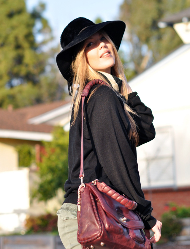 Vintage black hat, Tom Ford Sunglasses, Cynthia Rowley Bag with tassels, J Brand Houlihan skinny cargo pants, steve madden wedges, long blonde hair, DSC_0177