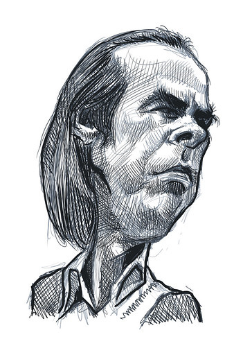 digital caricature sketch of Nick Cave