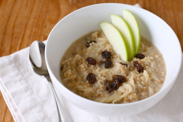 Steel Cut Oats with Apples and Raisins