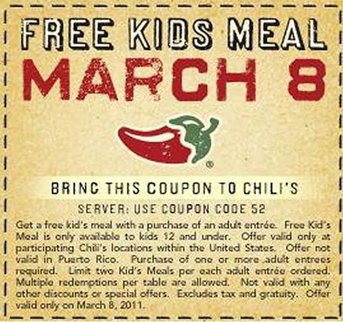 Chilis Free Kids Meal coupon