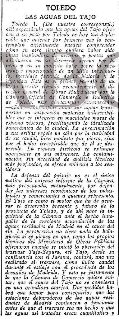 Artículo de Luis Moreno Nieto sobre la contaminación del río Tajo. Diario ABC del 2-5-1971