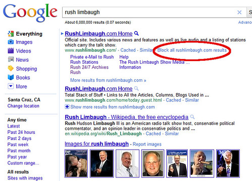 Google Block Domains from Results - Rush Limbaugh