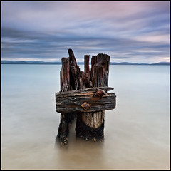 (David Panevin) Tags: longexposure morning sky bw seascape motion beach water clouds landscape object australia olympus explore lauderdale tasmania e3 beforesunrise sigma1020mmf456exdchsm explored southarm bwnd davidpanevin