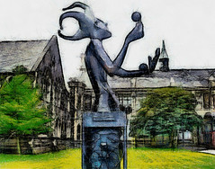 The statue of the blind juggler at the Art Centre, Christchurch (Steve Taylor (Photography)) Tags: newzealand christchurch art statue digital vintage painting blind drawing centre center canterbury nz southisland juggler artcentre stevetaylor roughsketch steventaylor