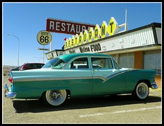 A '56 on Route 66 (Dusty_73) Tags: auto road santa new trip usa classic ford car america vintage mexico restaurant rosa roadtrip landmark 66 route signage 1956 roadside nm 56 fairlane