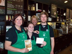 The El Dorado Hills Starbuck's team raised $160 through a raffle and donated it to Empty Bowls (River City Food Bank) Tags: hunger starbucks rivercityfoodbank emptyboals