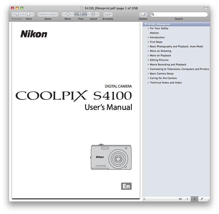 Nikon S4100 Manual