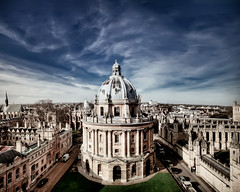 Radcliffe Camera, Oxford (briburt) Tags: uk blue england cloud building skyline architecture clouds nikon university skies angle library horizon wide dramatic wideangle oxford vista radcliffecamera oxforduniversity sciencelibrary d90 nikond90 briburt