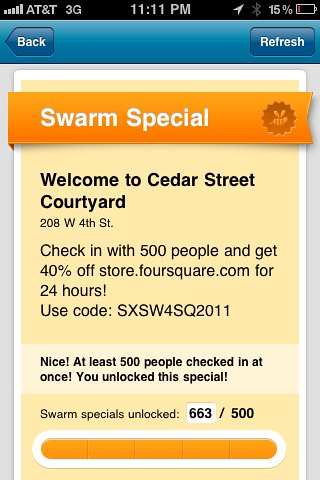 foursquare's Groupon Style Discount